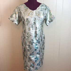 Vtg 60s/70s  Ivory Gold Metallic Lamé GoGo Dress